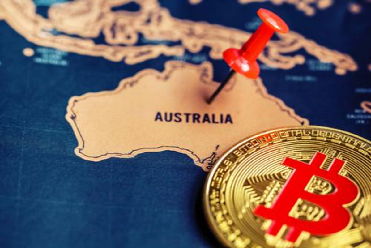 map of Australia with bitcoin